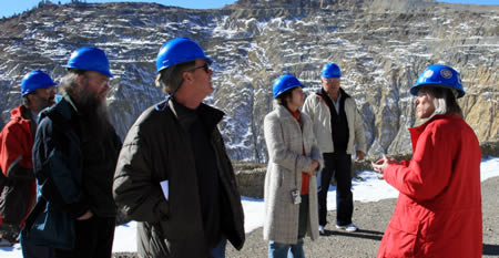 The Delegation in the open pit at the Molycorp Questa Mine.