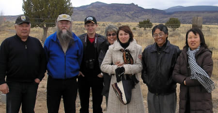 Petr Nokhoev, Misha Jones, Anton Ulatov, Laura Watchempino (Acoma Water Qaulity Officer), Albina Morilova, Petuuche Gilbert (Acoma Land Manager), and Tamara Troyakova.